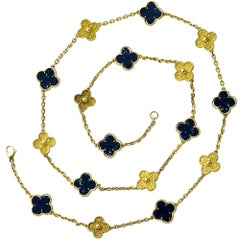 Van Cleef & Arpels Alhambra 17 Motif Lapis and Yellow Gold Necklace