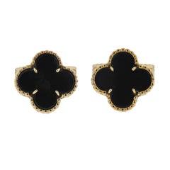 Van Cleef & Arpels Alhambra Onyx Gold Cufflinks