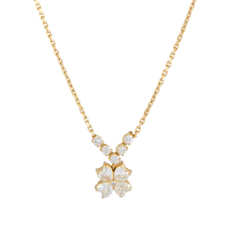 Van Cleef & Arpels Antoinette Diamond Flower Gold Pendant Necklace