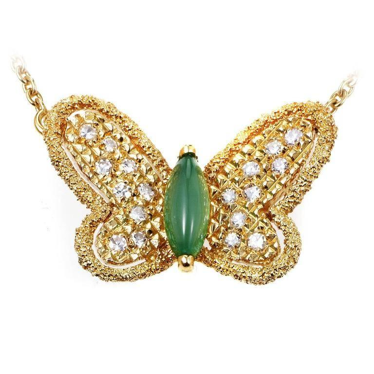 Van Cleef & Arpels Cabochon Chrysoprase and Diamond Gold Butterfly Necklace
