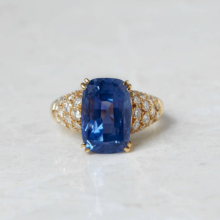Code: COM950 Brand: Van Cleef & Arpels Description: 18k Yellow Gold 10.73ct Sapphire & 1.80ct Diamond Ring Accompanied With: Box & Certificate Gender: Ladies UK Ring Size: O EU Ring Size: 55 US Ring Size: 7 1/4 Resizing Possible?: YES Band Width: