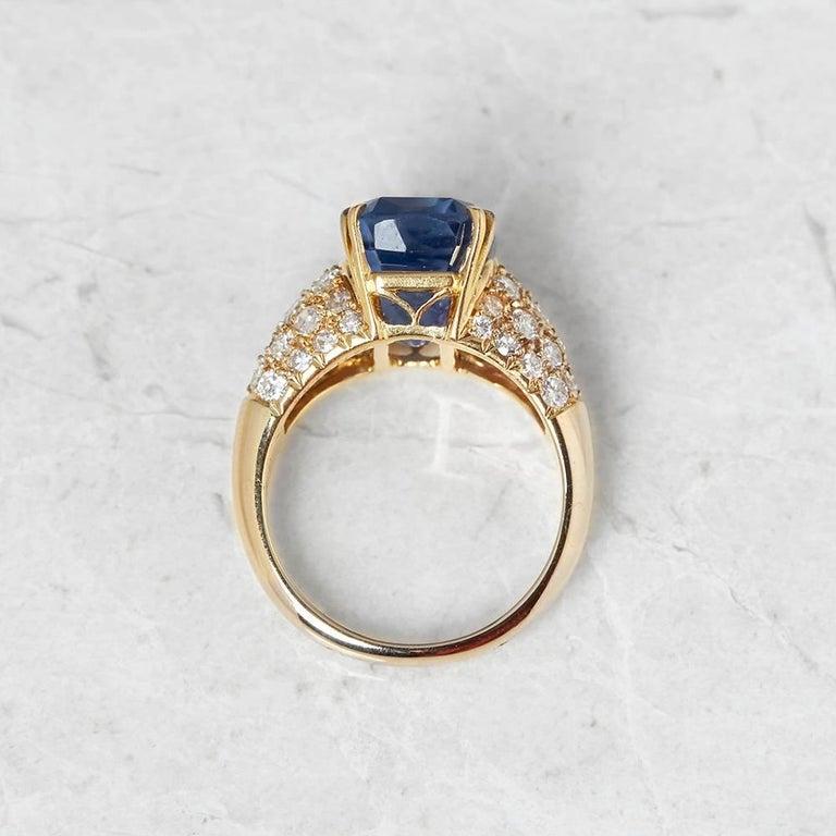 Women's Van Cleef & Arpels 18 Karat Yellow Gold Certified Ceylon Sapphire Diamond Ring For Sale