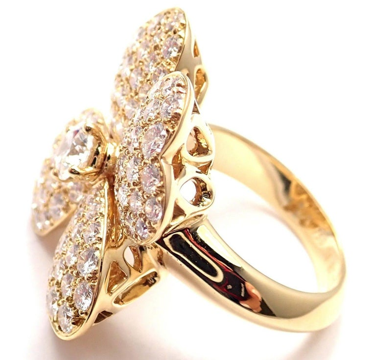 Van Cleef and Arpels Cosmos Diamond Large Model Yellow Gold Ring For ...