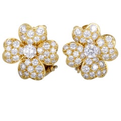 Van Cleef & Arpels Cosmos Diamond Pave Gold Flower Earrings