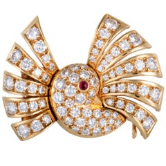 Van Cleef & Arpels Diamond and Ruby Bird Gold Brooch
