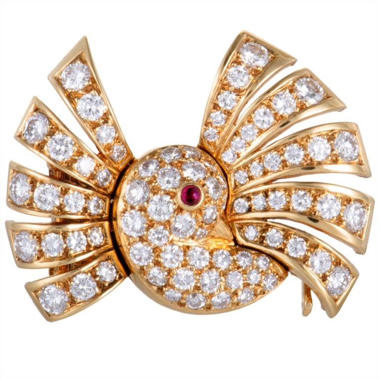 Van Cleef & Arpels Diamond and Ruby Bird Gold Brooch