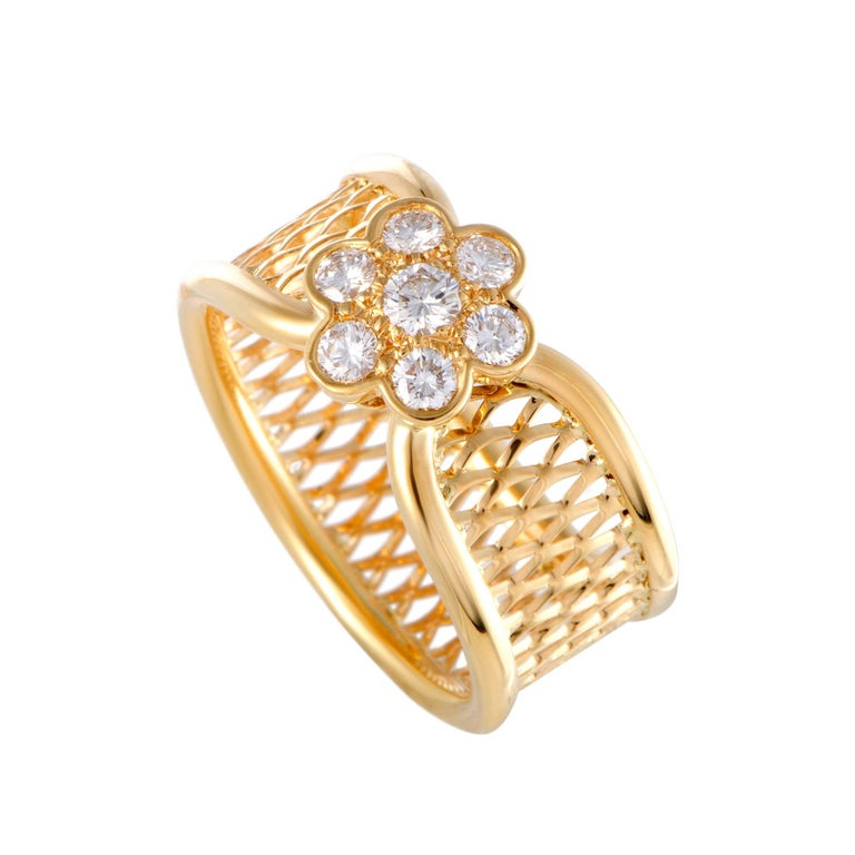 Van Cleef & Arpels Diamond Flower Lattice Gold Band Ring