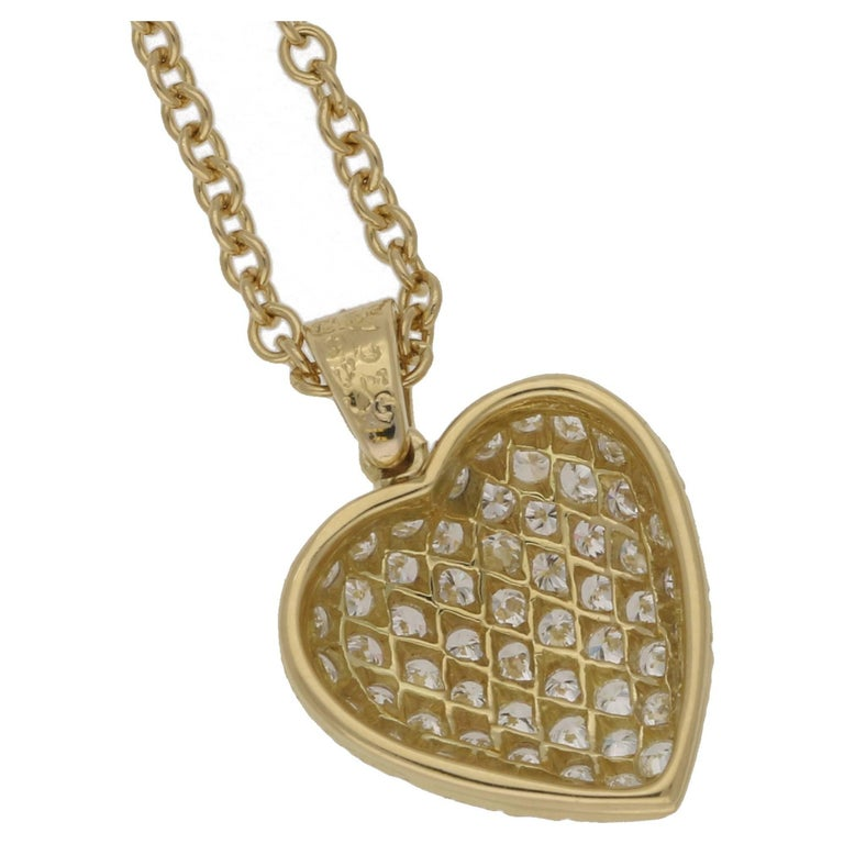Van cleef and arpels diamond gold heart necklace for sale at 1stdibs a gorgeous van cleef arpels diamond heart pendant in 18ct yellow gold on an 18 aloadofball Images