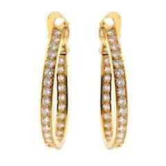 Van Cleef & Arpels Diamond Hoop Gold Earrings