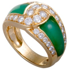 Van Cleef & Arpels Diamond Pave and Green Chrysoprase Yellow Gold Band Ring