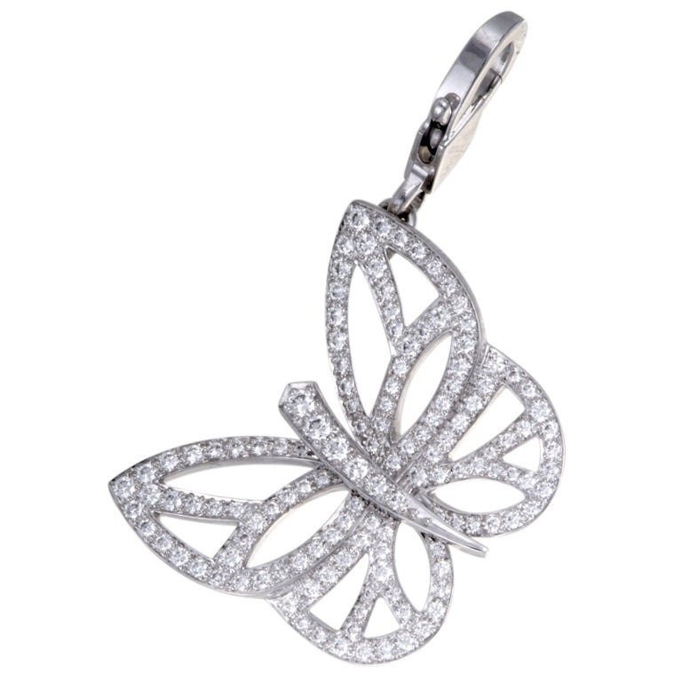Van Cleef & Arpels Diamond Pave Butterfly Gold Pendant or Charm