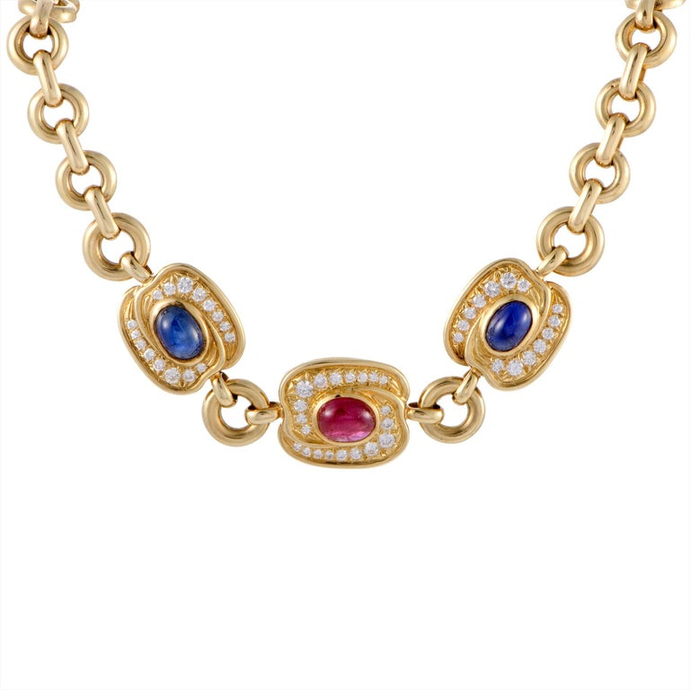 Van Cleef & Arpels Diamond Ruby and Sapphire Yellow Gold Collar Necklace For Sale