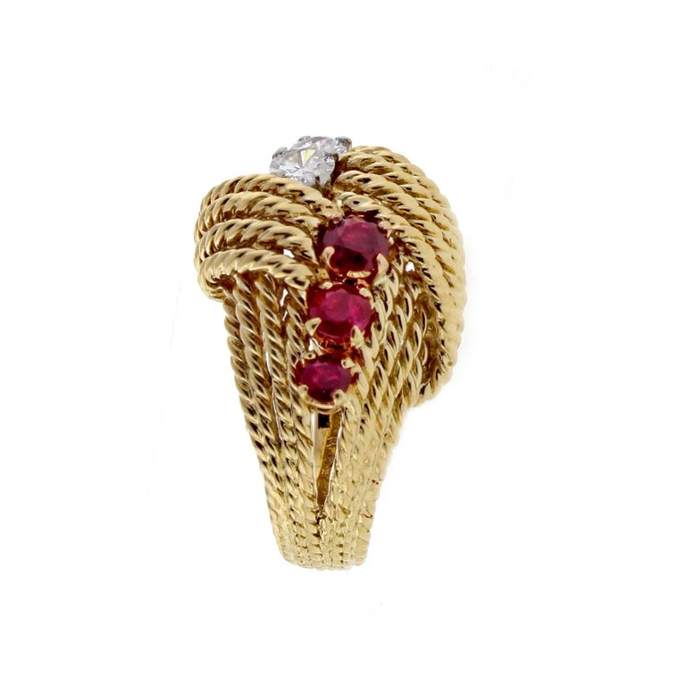 Women's or Men's Van Cleef & Arpels Diamond Ruby Cocktail Gold Ring For Sale
