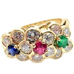 Van Cleef & Arpels Diamond Ruby Emerald Sapphire Flower Band Ring