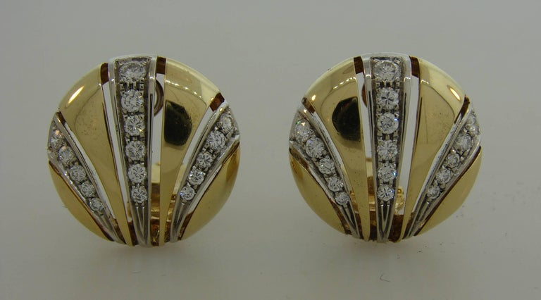 Van Cleef & Arpels Diamond Yellow Gold Earrings In Good Condition For Sale In Beverly Hills, CA