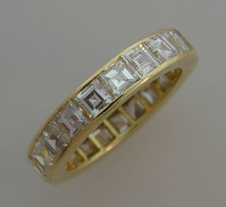 Asscher Cut Van Cleef & Arpels Diamond Yellow Gold Eternity Band Ring VCA For Sale