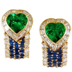 VAN CLEEF & ARPELS Heart Emerald Sapphire Diamond Earrings