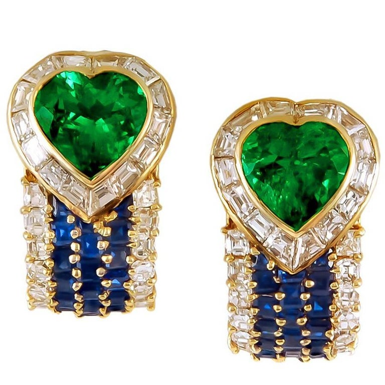 Van Cleef & Arpels Diamond, Sapphire, Emerald Earrings