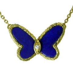 Van Cleef & Arpels Flying Beauties Diamond Lapis Lazuli Butterfly Necklace