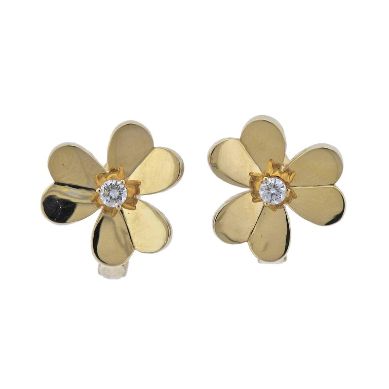 Van Cleef & Arpels Frivole Diamond Gold Earrings
