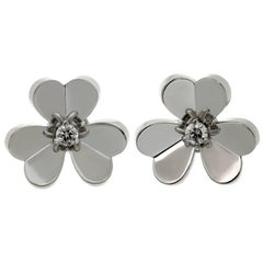 Van Cleef & Arpels Frivole Diamond White Gold Small Earrings