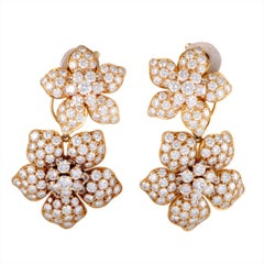 Van Cleef & Arpels Full Diamond Pave Gold Floral Clip-On Dangle Earrings