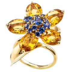 Van Cleef & Arpels Hawaii Citrine Sapphire Gold Ring