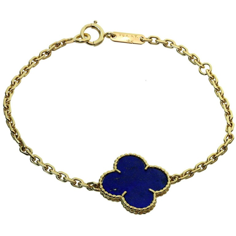 Van Cleef Arpels Magic Alhambra Lapis Lazuli Yellow Gold Bracelet For