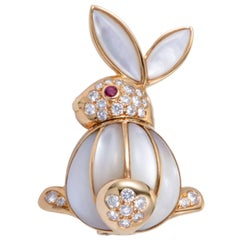 Van Cleef & Arpels Mother-of-Pearl, Diamond and Ruby Yellow Gold Rabbit Brooch