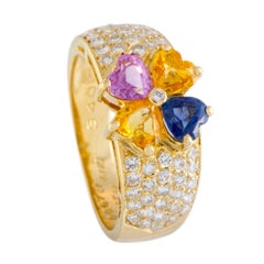 Van Cleef & Arpels Multi-Color Sapphire and Diamond Gold Flower Ring