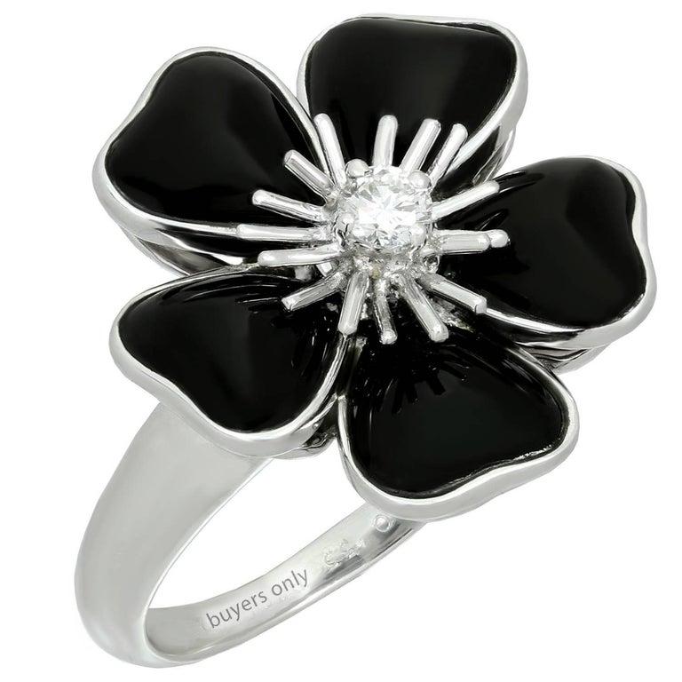 Van Cleef & Arpels Nerval Diamond Black Onyx White Gold Flower Ring
