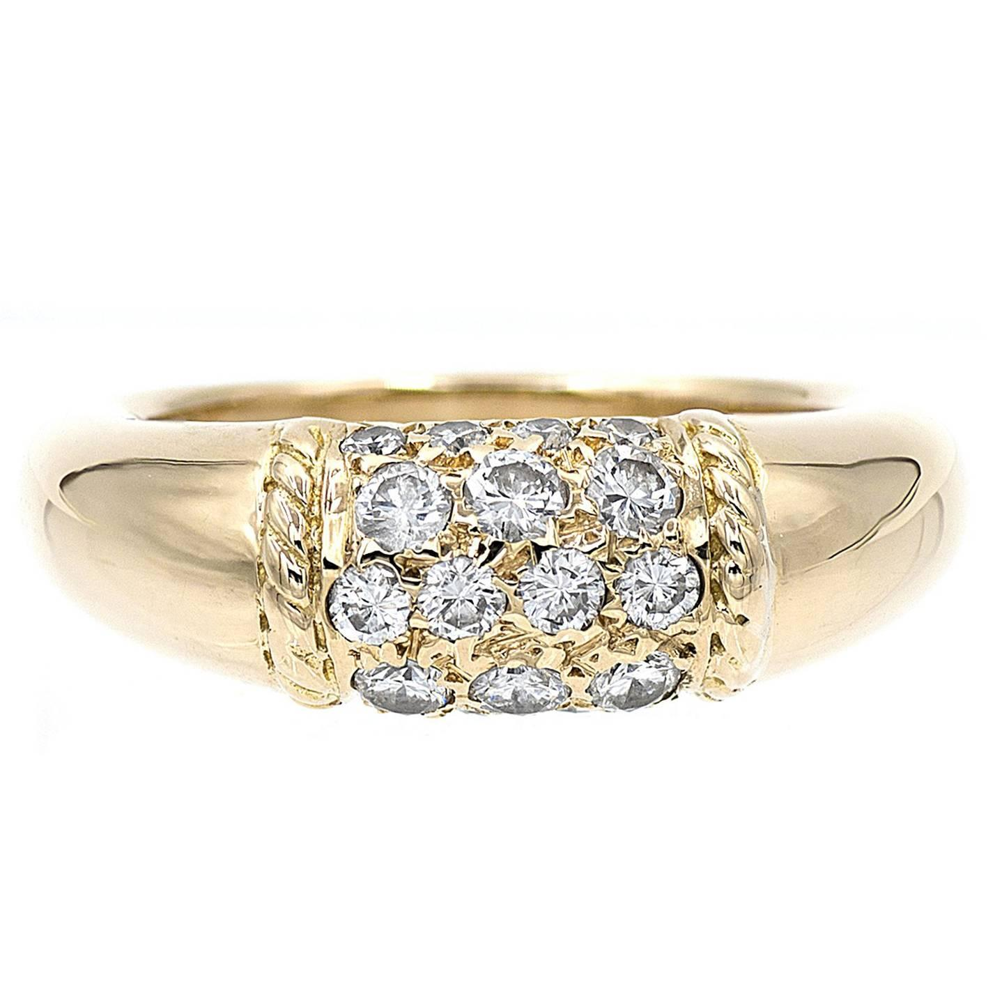 Van Cleef & Arpels Philippine Diamond Dome Yellow Gold Ring