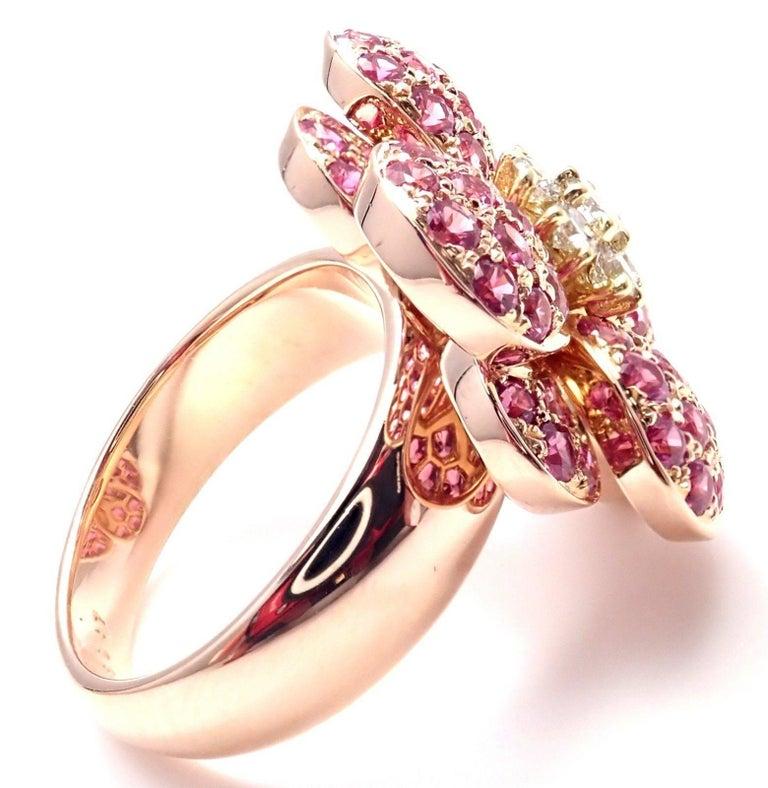 Van cleef and arpels pink sapphire diamond flower rose gold ring at van cleef arpels pink sapphire diamond flower rose gold ring in new condition for sale mightylinksfo