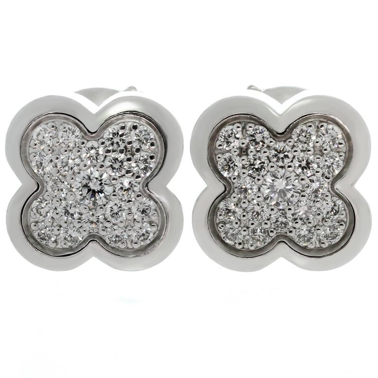 Van Cleef & Arpels Pure Alhambra Diamond White Gold Stud Earrings