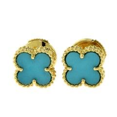 Van Cleef & Arpels Sweet Alhambra Turquoise 18 Karat Yellow Gold Mini Ear Studs
