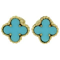 Van Cleef & Arpels Sweet Alhambra Turquoise Yellow Gold Stud Earrings