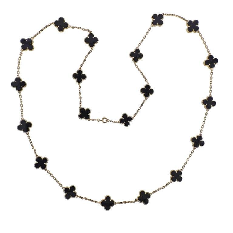 Van Cleef & Arpels Vintage Alhambra 20 Motif Onyx Gold Necklace