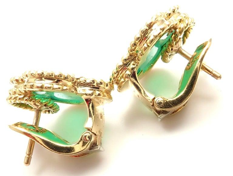 Women S Or Men Van Cleef Arpels Vintage Alhambra Green Chalcedony Yellow Gold Earrings For