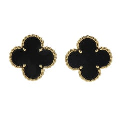 Van Cleef & Arpels Vintage Alhambra Onyx Gold Earrings