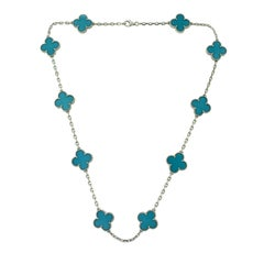 Van Cleef & Arpels Vintage Alhambra Turquoise Ten Motif White Gold Necklace