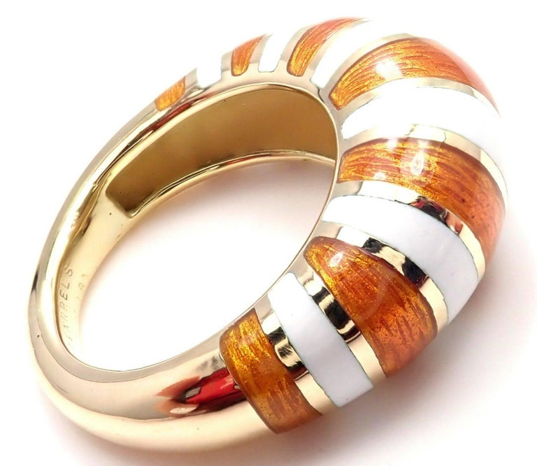 Women's or Men's Van Cleef & Arpels Vintage Enamel Yellow Gold Band Ring For Sale