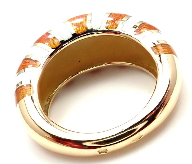 Van Cleef & Arpels Vintage Enamel Yellow Gold Band Ring For Sale 1