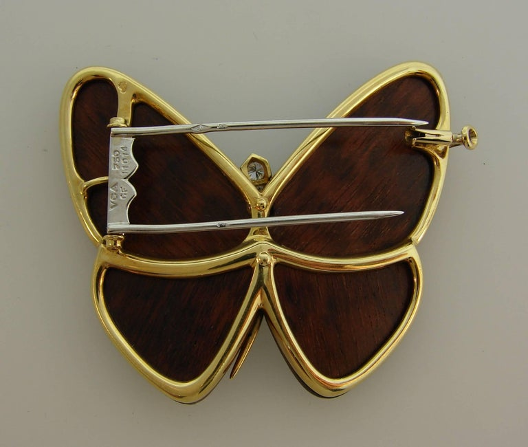 Women's or Men's Van Cleef & Arpels Wood Diamond Yellow Gold Butterfly Pin Brooch Clip VCA For Sale