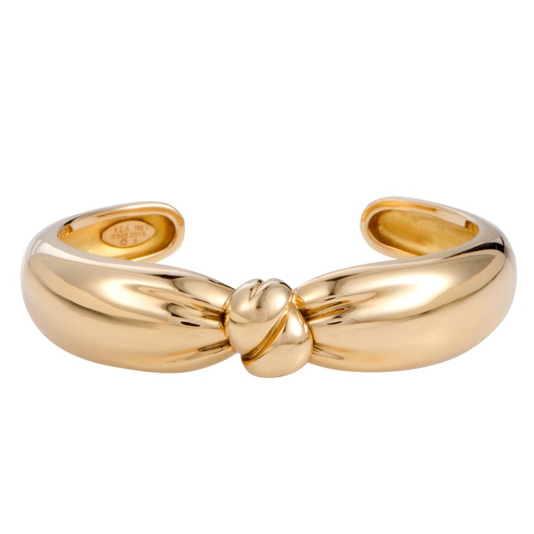 Van Cleef & Arpels Yellow Gold Knotted Bow Cuff Bracelet