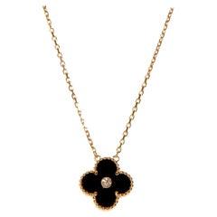 Van Cleef Alhambra 2016 Holiday Diamond Onyx Pendant Necklace