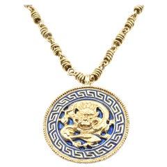 Van Cleef and Arpels 18 Karat Yellow Gold and Blue Enamel Dragon Medallion Neckl