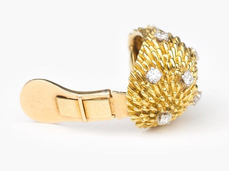 Retro Van Cleef and Arpels 18k Diamond Dome Earrings For Sale