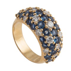 Van Cleef and Arpels 18k Yellow Gold Diamond and Blue Sapphire Dome Ring