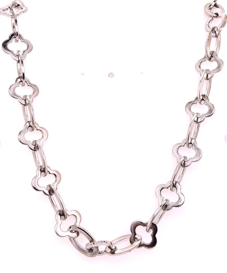 Van Cleef & Arpels 18 Karat White Gold Byzantine Alhambra Chain In Good Condition For Sale In Stamford, CT