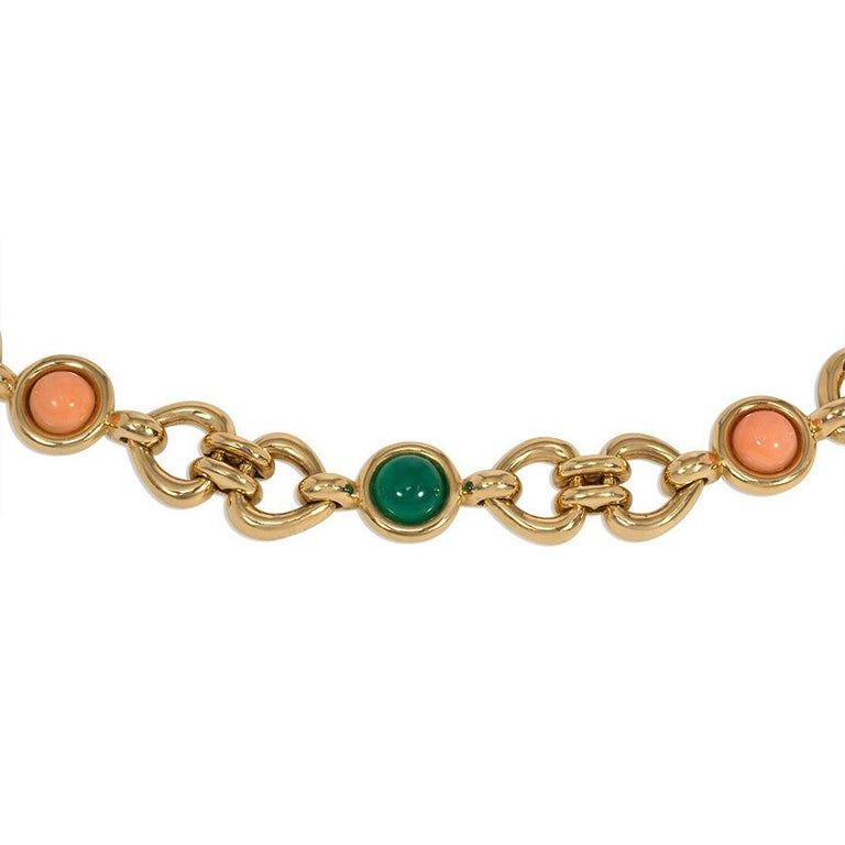 Contemporary Van Cleef & Arpels 1970s Gold, Coral, and Chrysoprase Link Bracelet For Sale